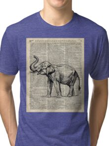 Vintage Illustration Of Happy Elephant over Old Dictionary Book Page  Tri-blend T-Shirt