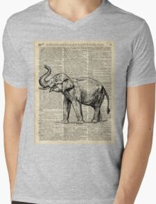 Vintage Illustration Of Happy Elephant over Old Dictionary Book Page  Mens V-Neck T-Shirt