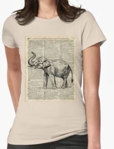 Vintage Illustration Of Happy Elephant over Old Dictionary Book Page  Womens Fitted T-Shirt