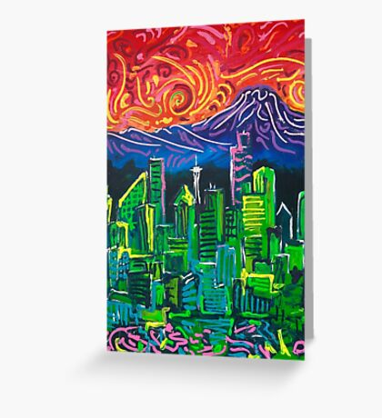 Seattle Emerald City With Spectacular Sunset Greeting Card