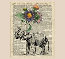 Elephant with flowers Over Dictionary Book Page Unisex T-Shirt