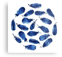 Set of blue feathers Metal Print