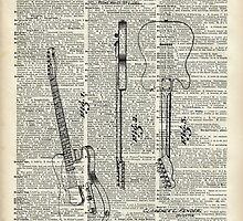 Guitar Illustration over old dictionary page by DictionaryArt