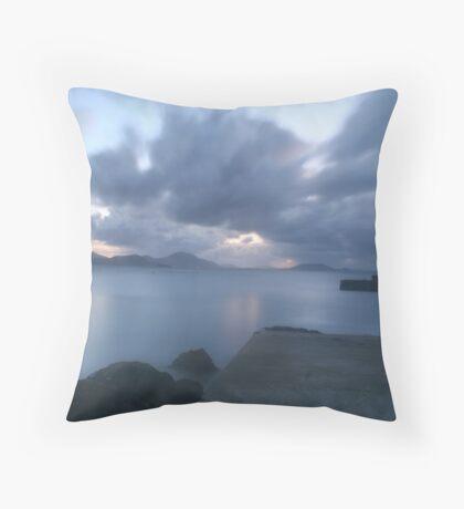Dusk at Port Ronan pier Throw Pillow