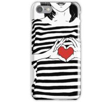 Girl in striped shirt with hands showing heart iPhone Case/Skin
