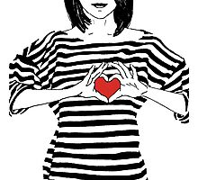 Girl in striped shirt with hands showing heart Photographic Print