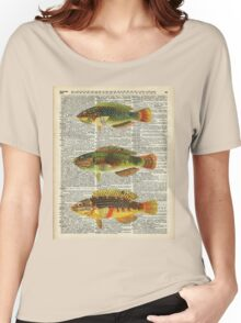 Colorful Fishes Over Old Encyclopedia Page Women's Relaxed Fit T-Shirt
