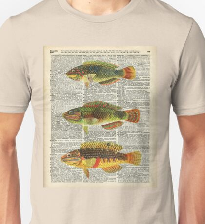 Colorful Fishes Over Old Encyclopedia Page Unisex T-Shirt