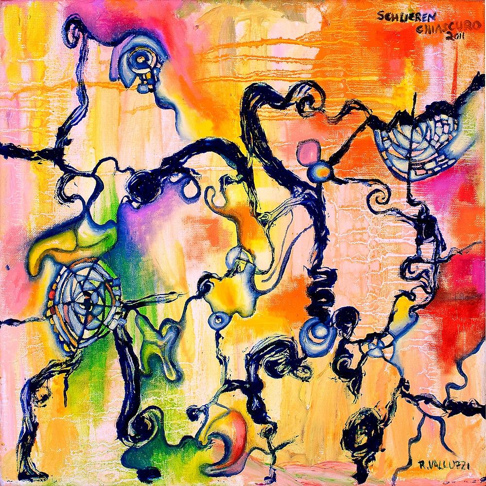 Schlieren Chiarascuro, original abstract oil painting by Regina Valluzzi by Regina Valluzzi
