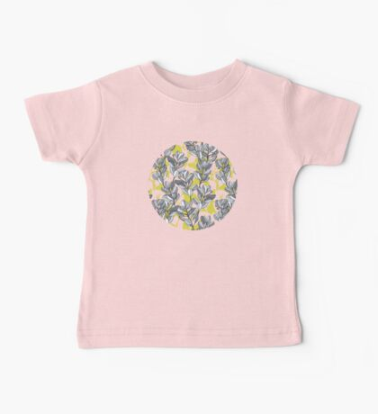 Leaf and Berry Sketch Pattern in Mustard and Ash Baby Tee