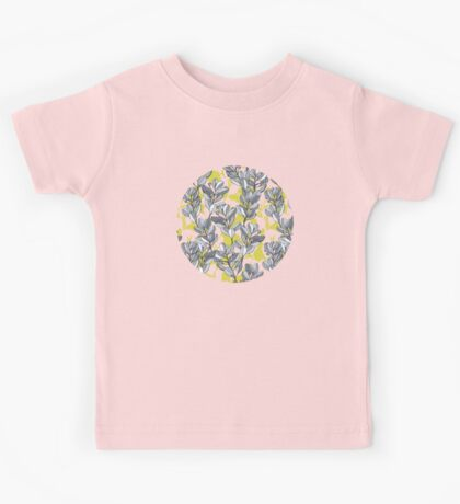 Leaf and Berry Sketch Pattern in Mustard and Ash Kids Tee
