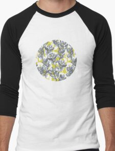 Leaf and Berry Sketch Pattern in Mustard and Ash Men's Baseball ¾ T-Shirt