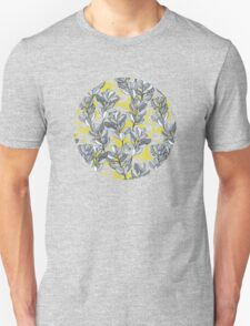Leaf and Berry Sketch Pattern in Mustard and Ash Unisex T-Shirt