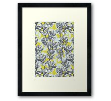 Leaf and Berry Sketch Pattern in Mustard and Ash Framed Print