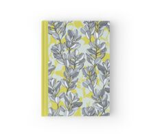 Leaf and Berry Sketch Pattern in Mustard and Ash Hardcover Journal