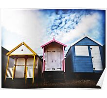 Beach Huts in evening light. Southend, Essex. Poster