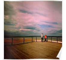 Couple on a pier Poster