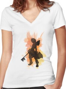 Kingdom Hearts: Watercolor Roxas Women's Fitted V-Neck T-Shirt