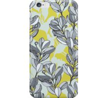 Leaf and Berry Sketch Pattern in Mustard and Ash iPhone Case/Skin