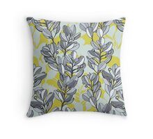 Leaf and Berry Sketch Pattern in Mustard and Ash Throw Pillow