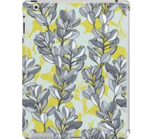 Leaf and Berry Sketch Pattern in Mustard and Ash iPad Case/Skin