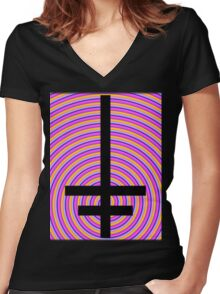 Inverted Psychedelic Cross Women's Fitted V-Neck T-Shirt