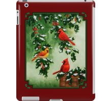 Red Cardinal Birds and Christmas Holly iPad Case/Skin