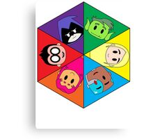 Teen Titans Chibi Hexagon Canvas Print
