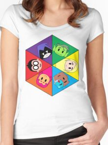 Teen Titans Chibi Hexagon Women's Fitted Scoop T-Shirt