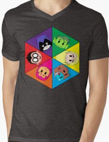 Teen Titans Chibi Hexagon Mens V-Neck T-Shirt