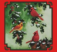 Red Cardinal Birds and Christmas Holly One Piece - Long Sleeve