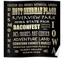 Des Moines Iowa Famous Landmarks Poster