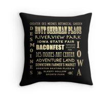 Des Moines Iowa Famous Landmarks Throw Pillow