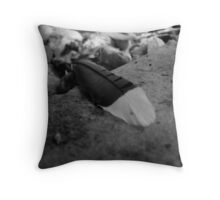 Blue Jay Feather - Black & White Throw Pillow