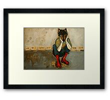 She felt safer with her mask  Framed Print