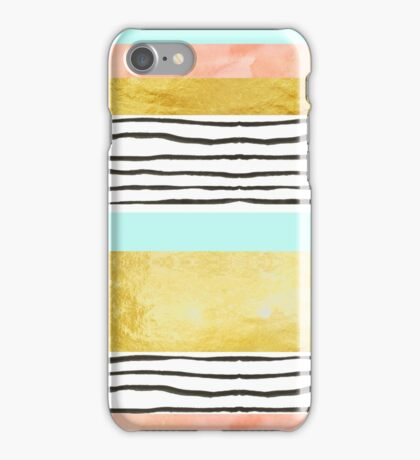 Coral aqua blue gold abstract watercolor pattern iPhone Case/Skin