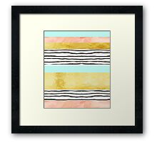 Coral aqua blue gold abstract watercolor pattern Framed Print