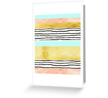 Coral aqua blue gold abstract watercolor pattern Greeting Card