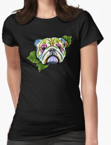Day of the Dead English Bulldog Sugar Skull Dog Womens Fitted T-Shirt
