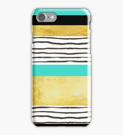 Turquoise gold black abstract watercolor design iPhone Case/Skin