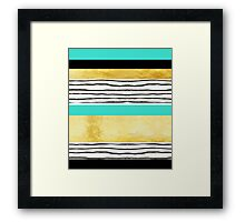 Turquoise gold black abstract watercolor design Framed Print