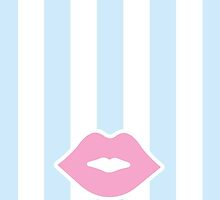 Pink Pastel Lips with Blue Stripes by XOOXOO