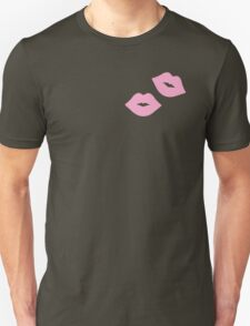 Pink Pastel Lips with Blue Stripes Unisex T-Shirt