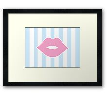 Pink Pastel Lips with Blue Stripes Framed Print