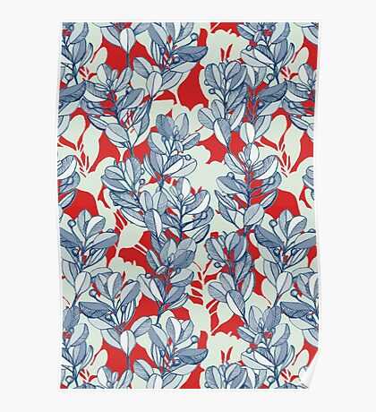 Leaf and Berry Sketch Pattern in Red and Blue Poster