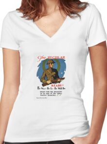 Enlist For The Infantry -- WWI Women's Fitted V-Neck T-Shirt