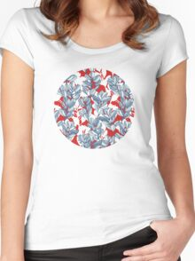 Leaf and Berry Sketch Pattern in Red and Blue Women's Fitted Scoop T-Shirt