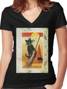 Victorian Halloween Black Cat Witches Hat Women's Fitted V-Neck T-Shirt