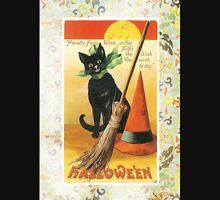Victorian Halloween Black Cat Witches Hat Unisex T-Shirt