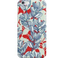Leaf and Berry Sketch Pattern in Red and Blue iPhone Case/Skin